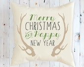 Happy New Year Decorative Pillow, Throw Pillow, Pillows, Toss Pillow, Christmas Pillow,  Antlers