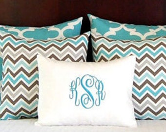 Bed Pillows Shams Turquoise Bedding Full Queen Pillow Shams Queen Bedding Spirit Blue Decorative Throw Pillow Covers  Five with Monogram