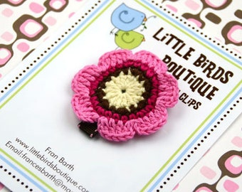 Baby Toddler Hair Clips/Bows - Pink Brown Cream Crochet Flower