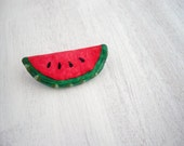 Watermelon brooch from papier mache - green and red summer fruit jewelry