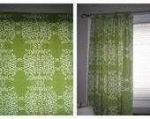 Dwell Studio Soft Scroll in Apple Green , 50x84 LINED Pocket Panels -  Ready to Ship