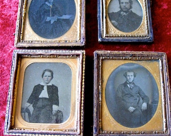 4 Vintage  Tintype Photos Woman In a Fancy Dress  with Gold 1800s Orig Boy with Tinted Face Photo