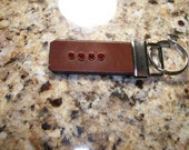 Leather Key Fob with Crystal Accents