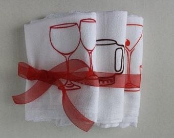 Set of three bar glasses screen printed towel