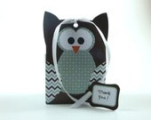 DIY Owl Gift Bag Template - Sea Foam & Chocolate Brown - Party Favor Template