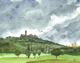 Italian landscape- Castle Montecchio- watercolor art print