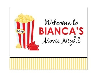 PRINTABLE Movie Night Party Welcome Sign