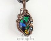 OOAK Multi-colour dichroic glass wire wrapped pendant