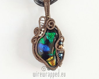 OOAK Multi-colour dichroic glass wire wrapped pendant