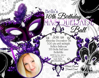 Masquerade Mardi Gras Party, Masquerade Party Photo Invitation, Photo Cards, Mardi Gras Party, Party Invitations