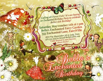 Fairies and Elves Party Invitations, Fairy Party, Enchanted Forest Party, Magical Birthday Invitations