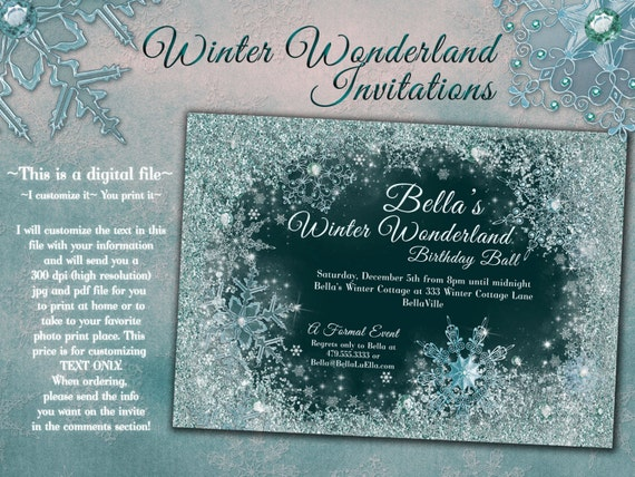 winter wonderland party winter snowflake ball invitation, Party invitations