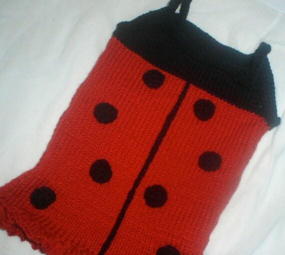 Knitting Ladybug Ladybird Headband : Pdf lady bug baby dress pattern knitting knit