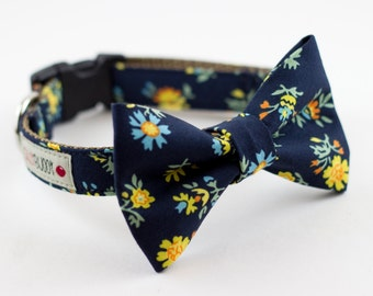 Navy Yellow Floral Dog Bow Tie Collar
