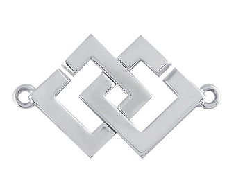 Sterling Silver Interlocking Square Hook and Eye Clasp