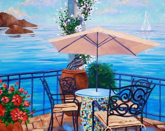 Art, Original Oil Painting, Landscape Painting on Canvas, Quiet by the Sea, Landscape on Canvas by Rebecca Beal