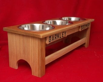 Elevated Large Dog Feeder Solid Oak Wood 12 Inch High Five Quart  FREE NAME and STAIN