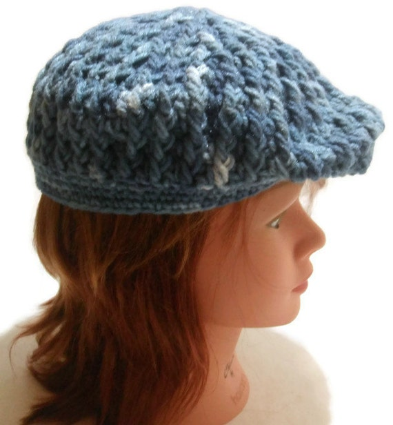 Crochet Pattern Golf Hat : RESERVED: Crochet Cabled Mens Flat Golf Cap in by ...