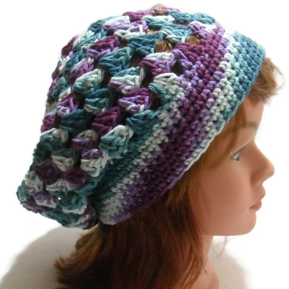 Crochet Pattern Long Beanie Hat : Granny Square Tam Ombre Snood Hat Crochet by AddSomeStitches
