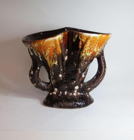 Mid Century Mod Vintage Brown Ceramic Vase with Golden Accents
