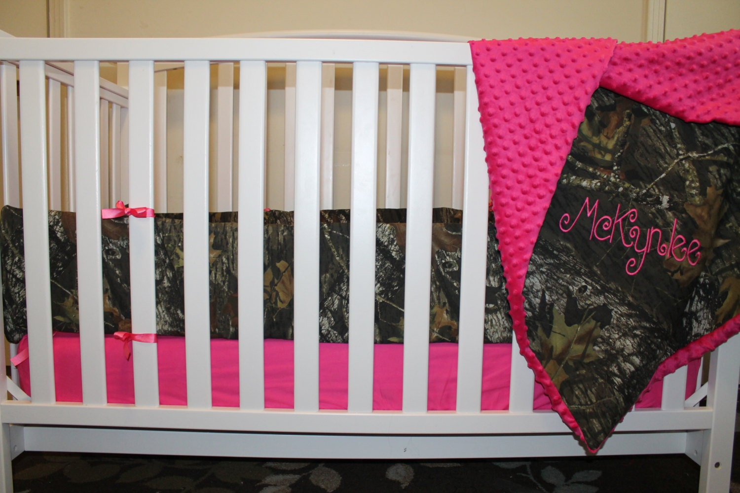 PINK Mossy Oak CAMO With Minky Dot Baby Crib Bedding Set