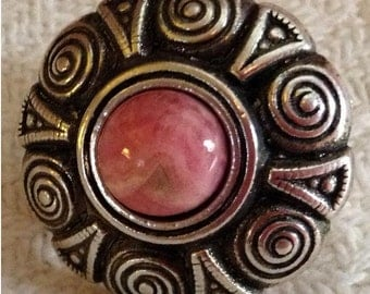 Pink Rhodonite Adjustable Ring