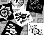 SALE - Digital Collage Sheet - Digital Clipart - 1 X 1 - Asian Art - Black and White - Flower Clip Art -  Embellishments  - Tiles  CS 48
