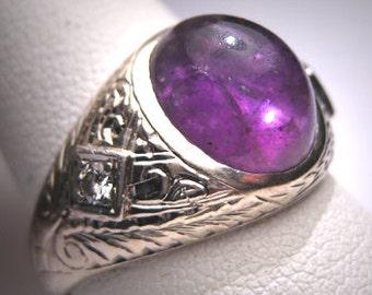 Antique Amethyst Diamond Ring Vintage Art Deco Wedding White Gold