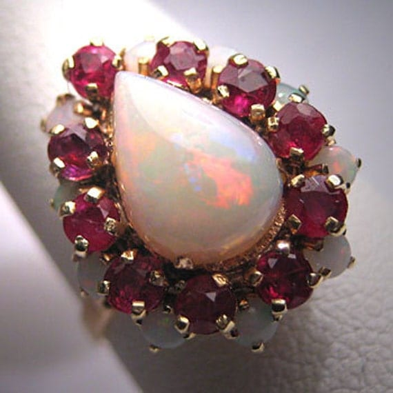 Antique Australian Opal Ruby Ring Vintage Art Deco 14k Wedding