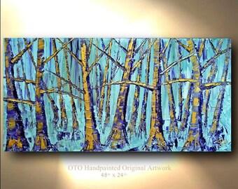 ORIGINAL 48x24 Forest Tree Blue Purple Metallic Gold Painting Artwork Abstract Art Landscape treescape artwork Modern mixed media by OTO