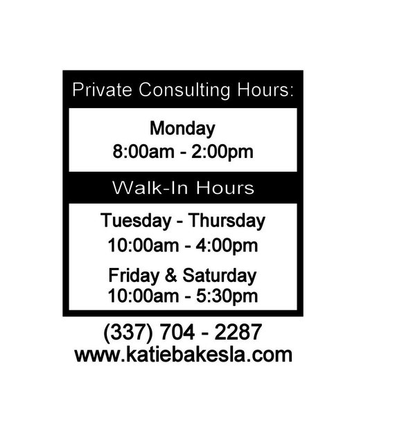 Business Hours / Store hours / Salon hours / Vinyl decal / Open Closed Hours / Window decal / glass decal