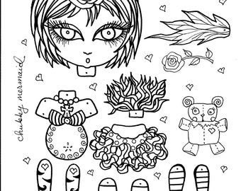 Instant Download Funky Fairy Paper Doll Be the Artist Coloring page