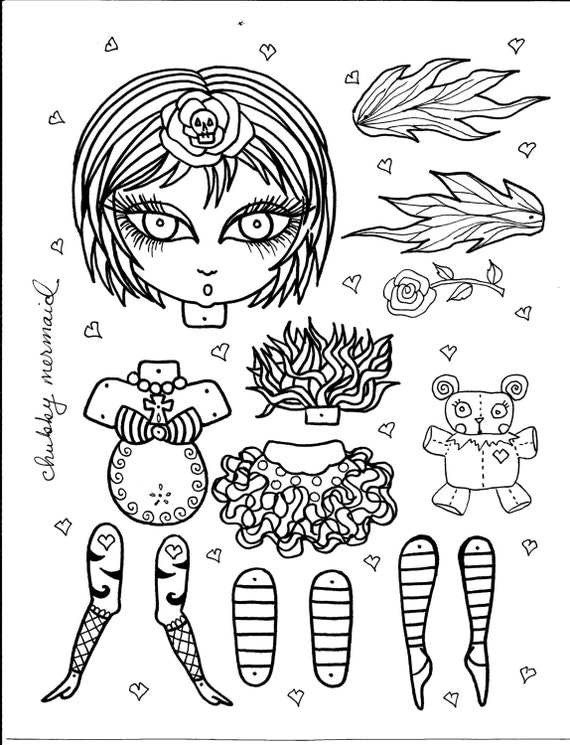 instant download funky fairy paper doll be the by chubbymermaid. Black Bedroom Furniture Sets. Home Design Ideas