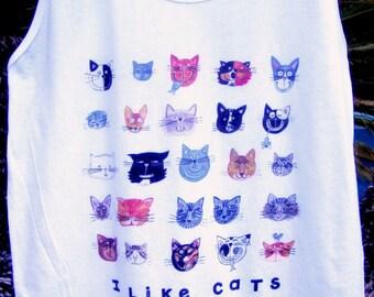I Like Cats Unisex Tank Top