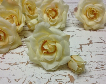 Silk Flowers - Gorgeous Yellow Roses and Buds -  Artificial Roses