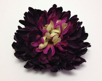 Silk Flowers - One Jumbo Deep Purple Mum ON A CLIP - 5.5 Inches - Artificial Flowers