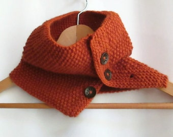 Cowl in Orange Aran Wool