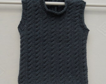 Baby boy's tank/vest/top/jumper hand knitted in dark gray yarn, MADE TO ORDER, machine washable, size 16-18 inch chest, approx 3-6months