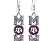 "2"" Collegiate Licensed Texas A & M Aggies ""MOM"" Fish Hook Earrings"