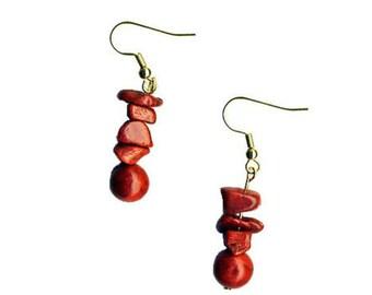Vivid Red Coral Earrings - Nautical, Beachy, Ocean, Sea, Sailing, Diving