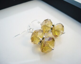 Yellow Earrings, Gold Crystal Earrings, Yellow Drop Earrings, Yellow Crystal Earrings, Crystal Earrings, Gift for Her, Silver Earrings