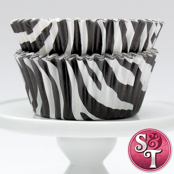 Black GREASEPROOF Zebra Baking Cups Cupcake Liners - Quantity 50