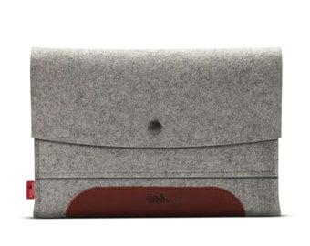 iPad mini Retina case, cover, sleeve, 100% Merino wool felt, vegetable tanned leather - Merino ME-T-GLB-0.3