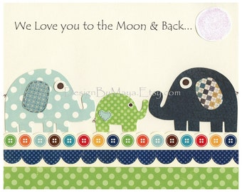 Baby Room Decor - Children Wall Art - Elephant Family For Baby Boy Nursery Room - Baby Boy Room Decor and Prints - We Love You To The Moon