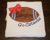 "Girl's""Football with Bow"" Shirt, Personalize with your team's colors, Choose  ruffle shirt, tee, bodysuit"