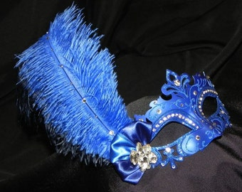 Royal, Navy and Silver Capri Feather Mask