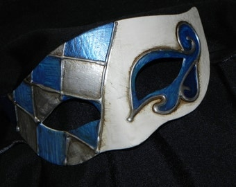 Half Harlequin Mask in Shades of Blue, White and Silver