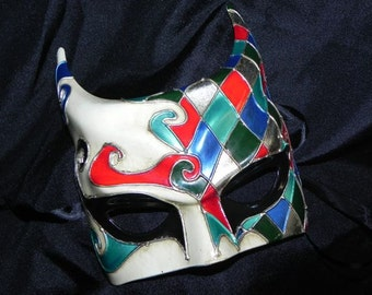 Horned Mask in Red, Blue, Teal, Black and Silver