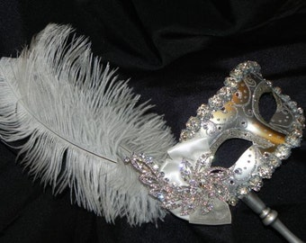 Ivory and Silver Venetian Masquerade Feather Mask