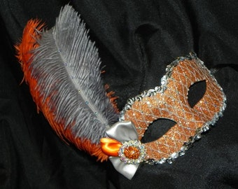 Burnt Orange and Silver Diamond Feather Mask